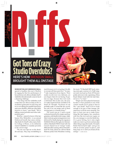 Guitar Player Magazine article