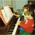 Piano lessons (Abe in foreground, Wes to his right)